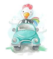 poulet conduisant une voiture