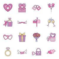 jeu d'icônes de Saint Valentin