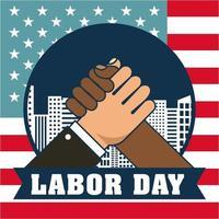 carte de fête du travail avec main dans la main