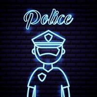 policier enseigne au néon vecteur
