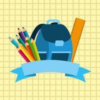 image de retour à l'école avec sac à dos et fournitures vecteur