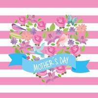 carte de fête des mères avec coeur en fleurs vecteur