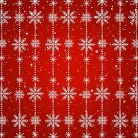 Chaîne de flocon de neige blanche sur fond rouge