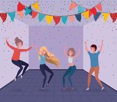 jeunes danser dans la chambre vecteur