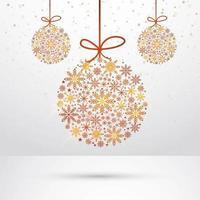 Abstrait suspendu fond de boule de Noël flocons de neige