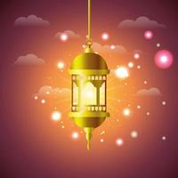 lampe de ramadan kareem doré suspendu