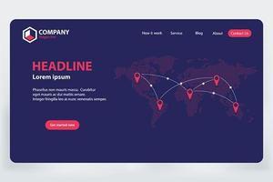 Landing Page World Réseau de communication vecteur