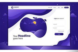 Login Form Landing Page Site Web Modèle de conception vecteur