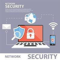 Concept de bannière d'icône plate d'échange de données sécurisé