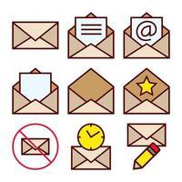 Ensemble d'icônes d'actions de mailing pour la correspondance par courrier électronique reçue vecteur
