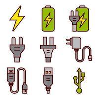 Icônes de batteries d'énergie et de prises électriques vecteur