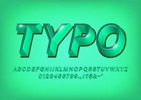 Titre de l'effet de texte de la police alphabet 3d vert vecteur