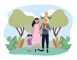 jolie femme et homme avec leur fils et leur fille vecteur