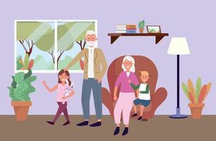 vieil homme et femme avec enfants et plantes vecteur