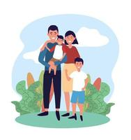 homme et femme mignons avec leur fils et plantes vecteur