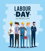 employeurs professionnels pour célébrer la fête du travail vecteur