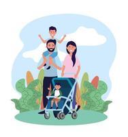 homme et femme avec leur fille et leur fils dans la poussette