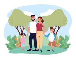 femme et homme couple avec leur fils et leur fille vecteur