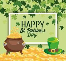 emblème de St Patrick avec des pièces de monnaie à l'intérieur de la vasque et chapeau