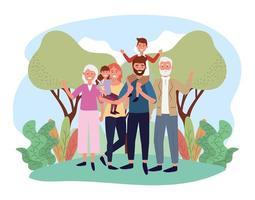 homme et femme mignons avec leurs enfants et leurs parents vecteur