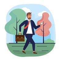 homme d'affaires avec la technologie smartphone et des vêtements élégants