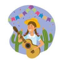 femme, chapeau, à, guitare, et, cactus, usines