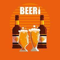 bouteilles et verres d'icône isolé de bières vecteur