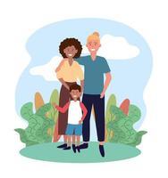 femme et homme couple avec leur fils mignon vecteur
