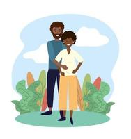 sourire femme et homme couple enceinte de plantes