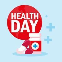 carte de la journée mondiale de la santé avec des médicaments en bouteille