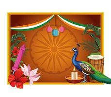 Bannière de carte cadre patriotique indien vecteur