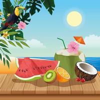 Vacances d'été et scène de plage