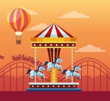 Carrousel au parc d'attractions vecteur
