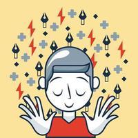 carte idée créative avec garçon avec ses yeux fermés et symboles