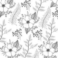 feuilles de fleurs exotiques avec fond de feuilles vecteur