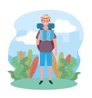 homme de voyage portant chapeau avec carte globale et sac à dos