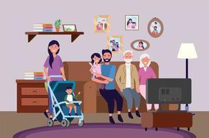 grands-parents avec femme et homme avec enfants ensemble vecteur