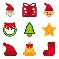 Ensemble d'icônes de Noël de couleur