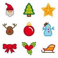 Ensemble d'icônes de Noël de couleur vecteur