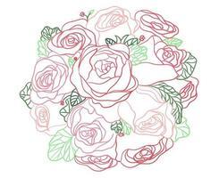 Contour de bouquet de fleurs vecteur