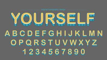 Conception de typographie rayures jaunes audacieuses