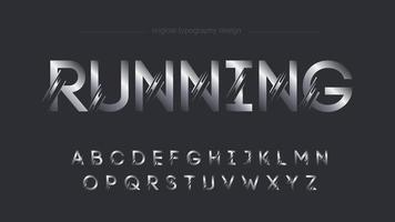 Typographie de rayures de l'espace personnalisé futuriste argent