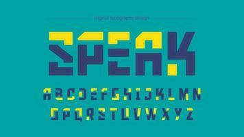 Typographie carré bleu jaune futuriste