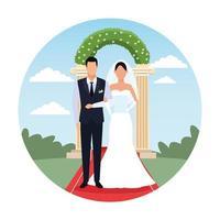 caricature de couple de mariage devant les colonnes vecteur