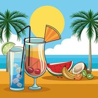 cocktail tropical et fruits vecteur