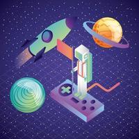 astronaute de réalité virtuelle sur la fusée et les planètes du jeu de contrôle