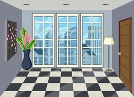 Intérieur de la chambre dans un appartement de grande hauteur vecteur