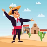 Caricature de mariachi mexicain en ville vecteur