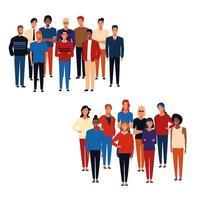 Caricature de groupes de personnes vecteur