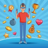 Adolescent avec des icônes de dessin animé de jeu vidéo vecteur